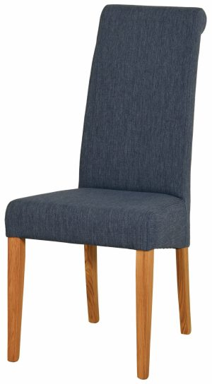 Blue fabric dining chair with light oak legs. tight woven fabric on back seat and pad