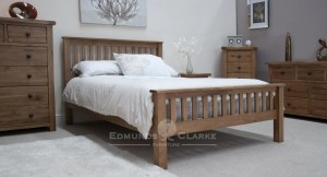 Lavenham Solid Rustic Oak Double Bed. slatted head and foot board