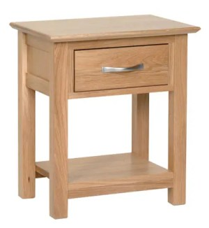 Norwich oak night stand. 1 handy drawer and shelf below.contemporary shaker style straight lines and shaped edges on tops. shaped chrome bar handle NNB25