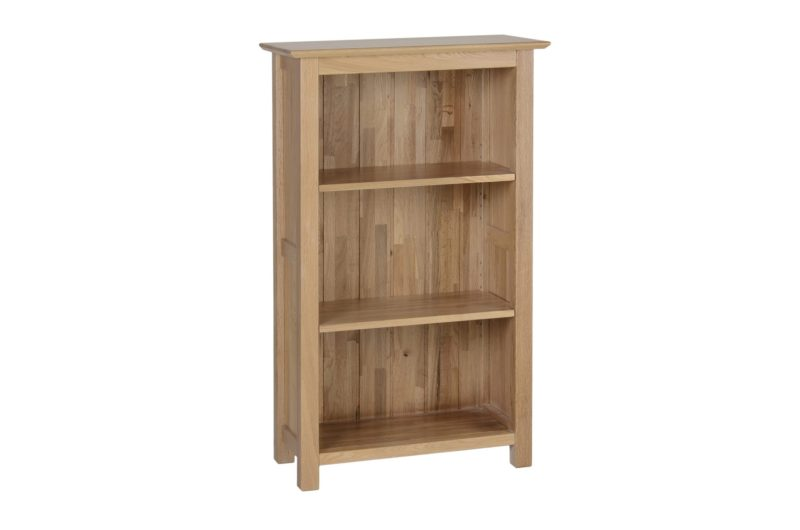 Norwich Oak narrow 3ft Bookcase. contemporary shaker style with straight lines, moulded top. 2 adjustable shelves NNK15