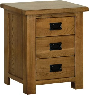 Sudbury Oak 3 Drawer Bedside. 3 handy rustic oak style straight lines and shaped edges on tops. rustic black drop down handle SRB30