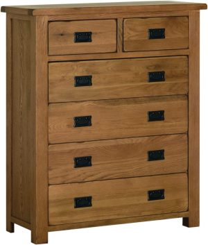 Sudbury Oak 2+4 Drawer. rustic oak style straight lines and shaped edges on tops. rustic black drop down handles. SRC80