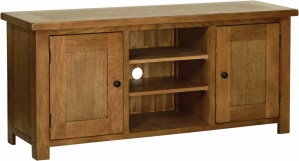 Sudbury Oak Large TV Cabinet. Rustic shaker style with rounded edges, 2 doors with rustic round knobs. 2 cupboards either side with adjustable shelf within. 2 open adjustable shelves in centre. SRE35