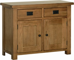 Sudbury Oak Oak 3ft Dresser base. rustic shaker style with rounded edges. 2 handy drawers with rustic black handles, two doors with rustic black round knobs. adjustable shelf in each cupboard. Sudbury Oak offers a dresser top to match. SRS20