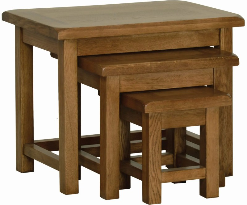 Sudbury Oak small Nest Of Tables. rustic shaker style with clean lines. set of 3 tables. SRT28