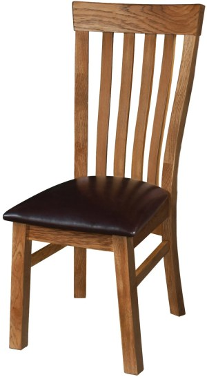 Sudbury Oak Toulouse Chair. Rustic Oak shaker style with vertical slats in centre of back. faux leather dark brown pad. SRUS099
