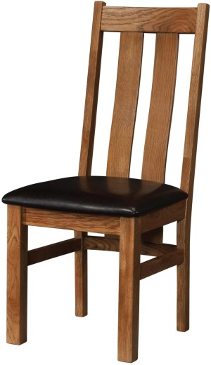 Sudbury Oak Arizona Chair. Two wide slats going downwards with lumbar support. with faux leather dark brown seat pad.SRUS100
