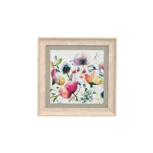 Voyage Maison Ambra Framed Art SQUARE BIRCH frame. colourful watercolour flowers on white background