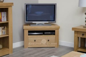 Hadleigh Solid Oak Corner TV unit. chunky shaker style. 1 handy shelf and drawer under. choice of handles.