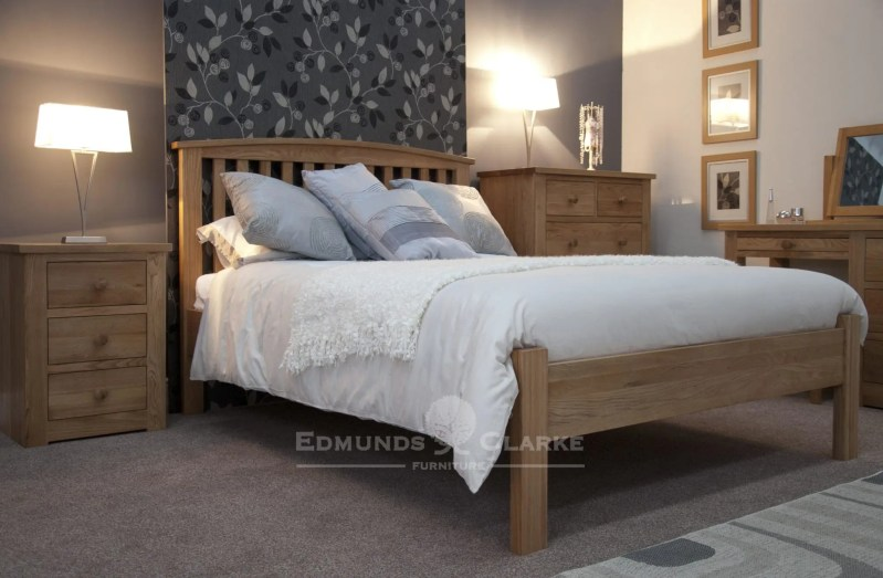 Bury Solid oak double bed - arched headboard. vertical slats on headboard with slight curve capping