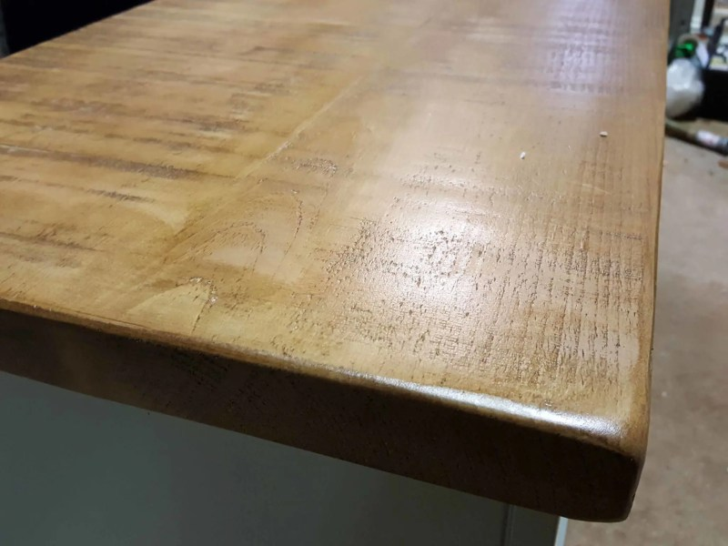 Image showing rustic sawn pine top finished in a stripped pine colour wax
