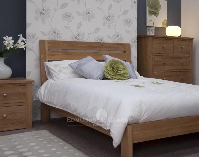 solid oak 5ft king size slatted bed wide horizontal slats in headboard