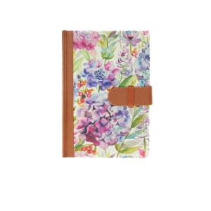 Voyage Maison Notebooks Hydrangea. Printed on scottish linen with a leather bound edge and lined paper inside
