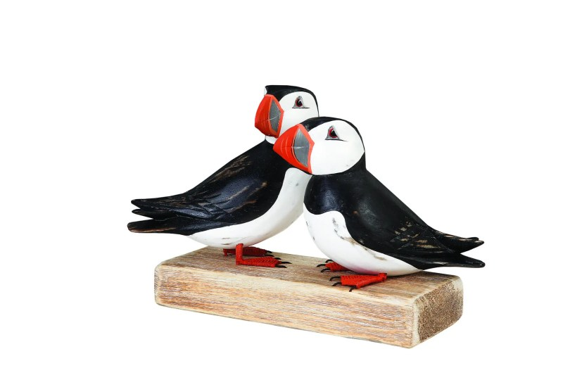 Archipelago Puffin Block Wood Carving D149. pair of puffins on driftwood. Fairtrade