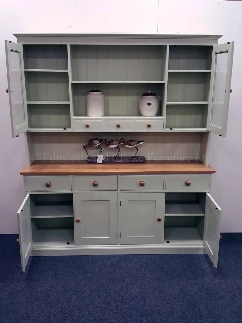 Edmunds kitchen 6ft plain dresser with glazed doors, oak top and knobs