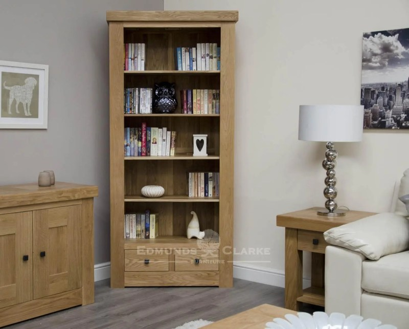 Hadleigh solid oak chunky 2 drawer large bookcase. rustic square knobs and adjustable drawers. light lacquer oak finish