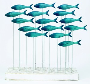 Archipelago Big Blue Fish Shoal Wood Carving N270. Lots of blue fish on driftwood. Fair trade