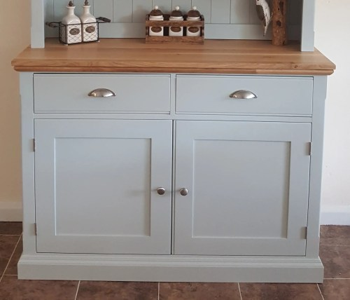 image showing a Edmunds Half glazed dresser with oak top and details of rounded returns and oxford grove on doors and drawers