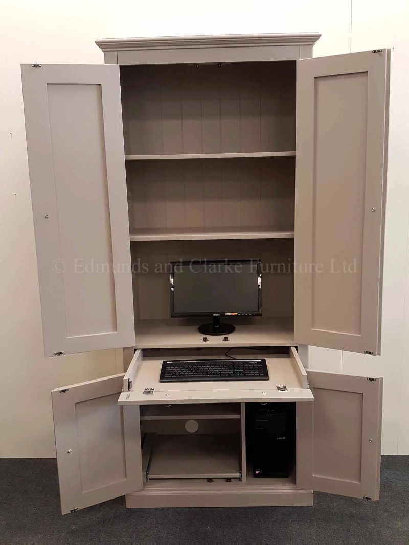 Edmunds Painted Computer Workstation. pull out drawer for keyboard of lap top and a shelves
