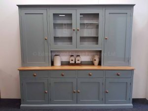 Painted 8ft Storage Dresser with two full panelled doors and 2 glazed doors