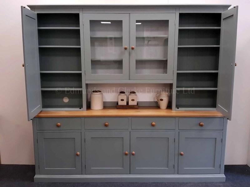 Edmunds 8' wide painted storage dresser adjustable shelves, paneled doors in rack four door four drawer sideboard