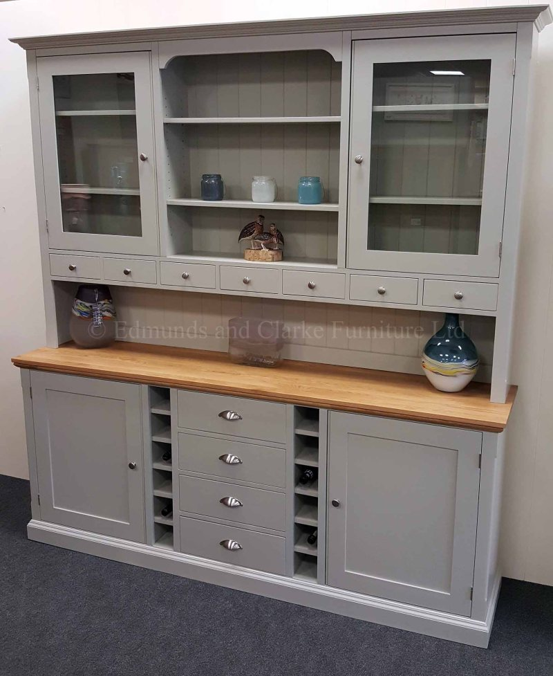Edmunds painted 7ft wide dresser, tall and elegant with choice of colours and oak tops