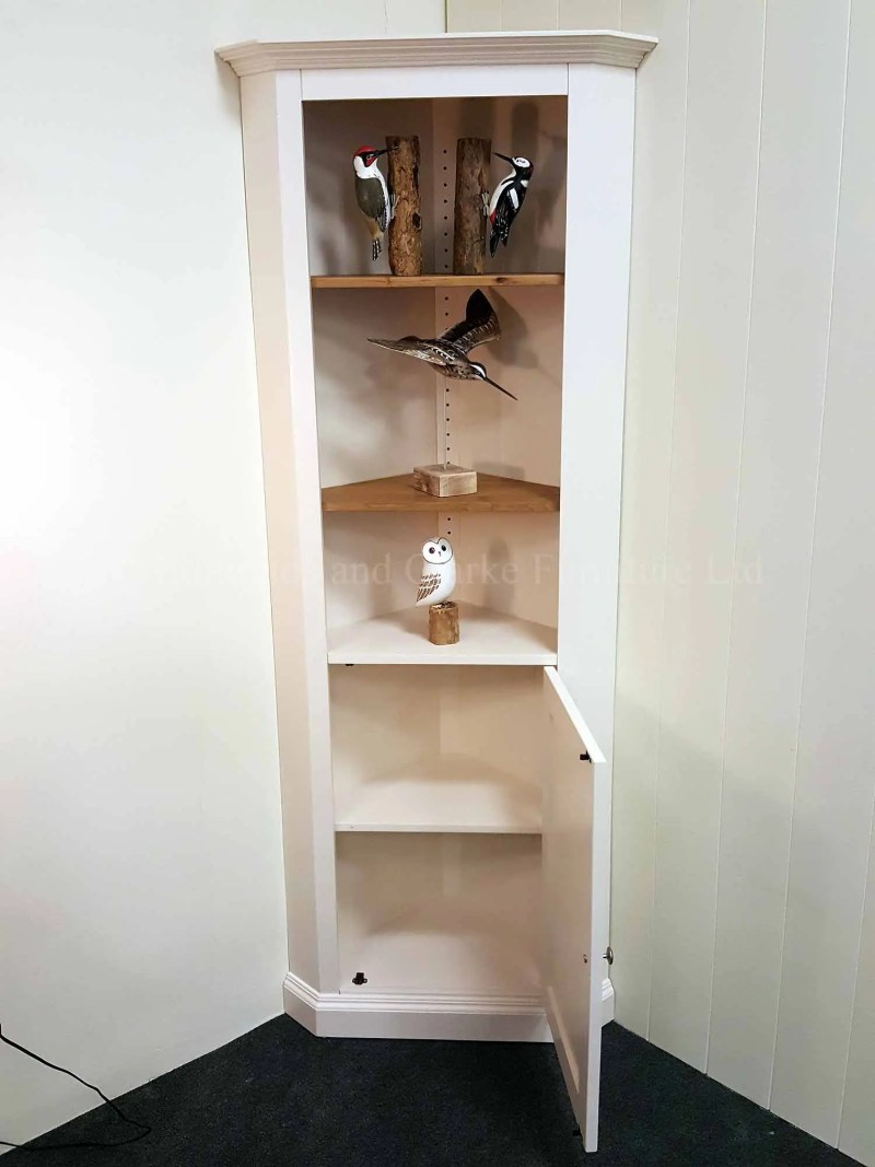 Edmunds painted white corner cupboard with waxed wooden shelves
