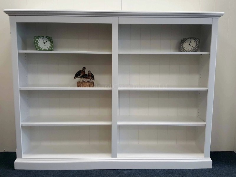 Edmunds Painted Twin Standard Depth Bookcases. Can be painted allover or painted with pine shelves. Can be made in two sections. mouled tops and plinths