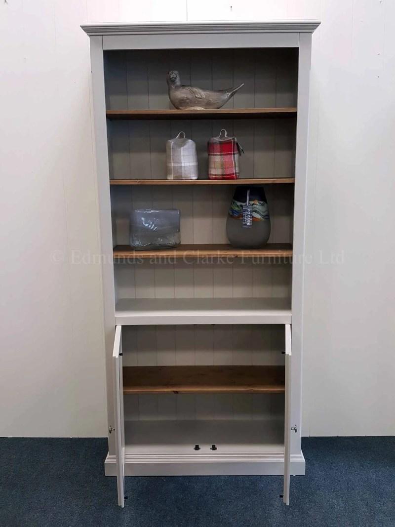 Edmunds painted two door bookcase adjustable shelves