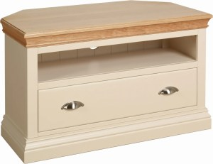 Lundy Painted Corner TV Unit. image showing with 1 drawer and space above for entertainment boxes