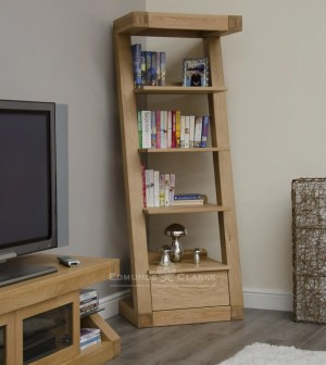 Z designer solid oak one drawer narrow bookcase with 4 shelves