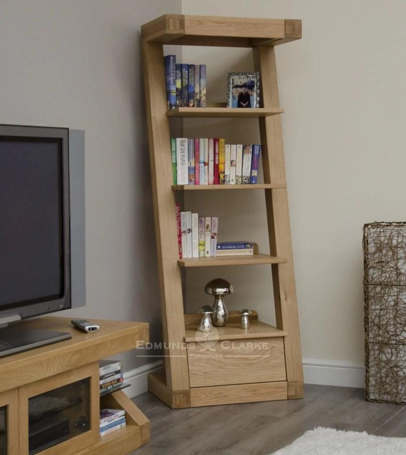 Z designer solid oak one drawer narrow bookcase with 4 shelves