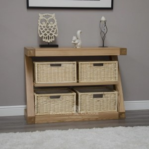 Z designer solid oak basket console table