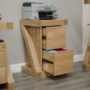 Z designer solid oak filing cabinet made with 2 drawers