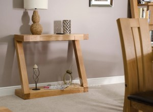 Z hall table made from solid oak with drawer and shelf ZHT