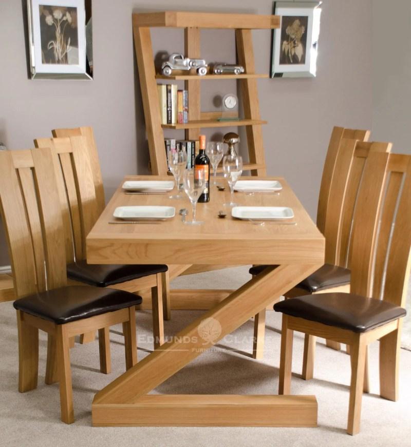 Z designer solid oak large dining table 6 x 3 Z6X3T