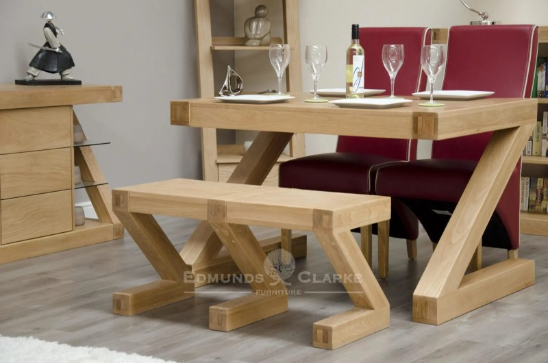 Z designer solid oak small bench made for the Z shape dining table