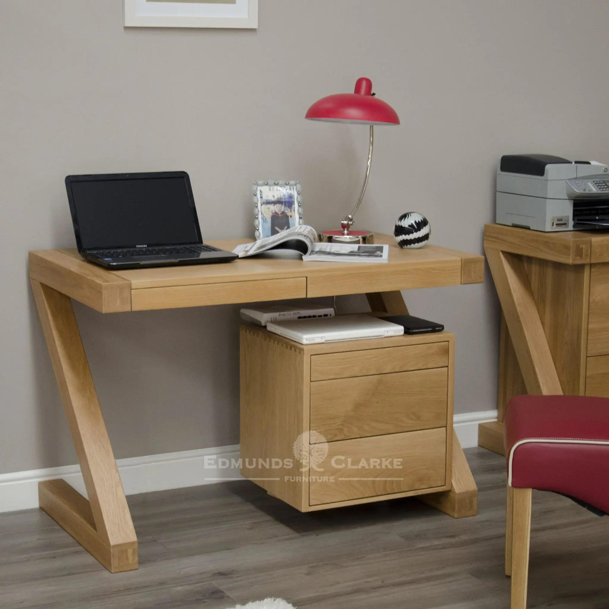 Z Designer Solid Oak Small Computer Desk Edmunds And Clarke Furniture