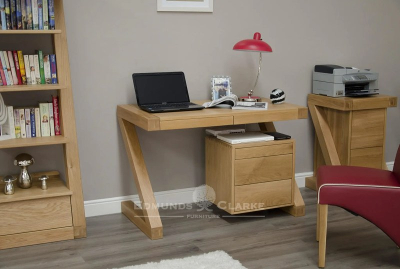 Solid oak small computer desk made in the shape of a Z. ZCDS