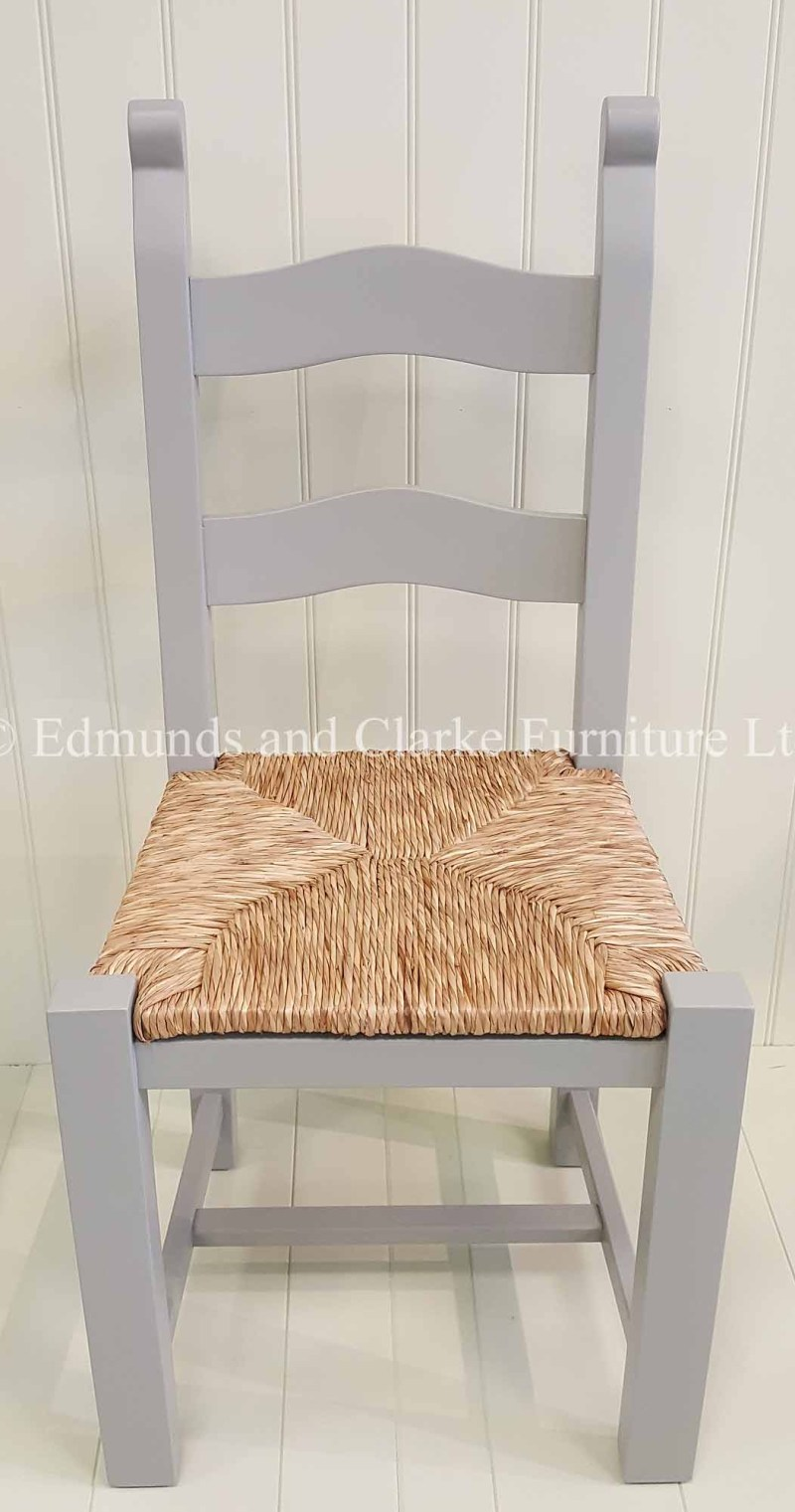Bretton solid beech dining chair painted with rush seat, choice of paint colours