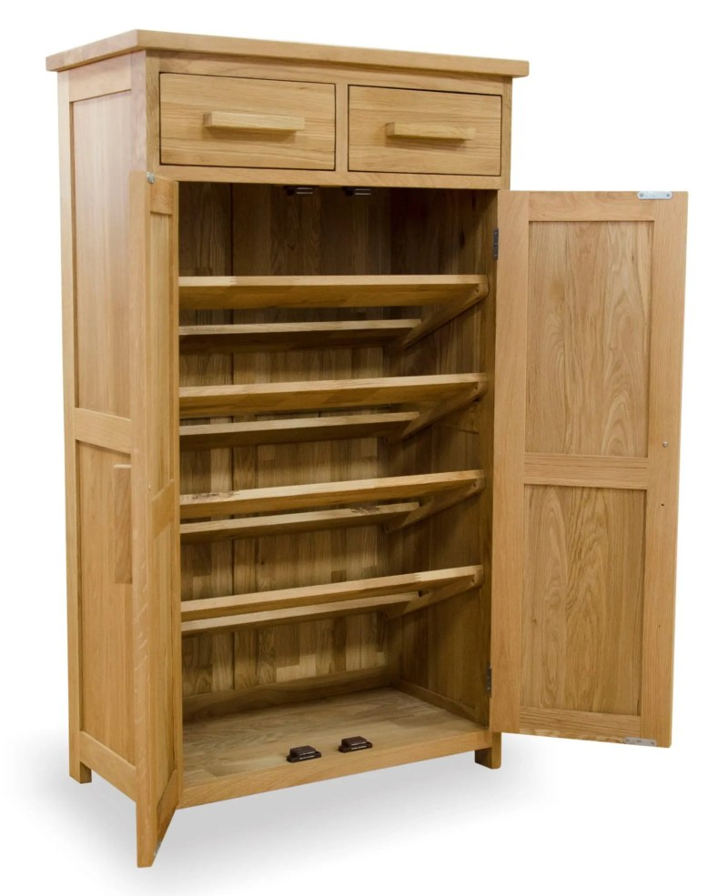 Shoe rack with five shelves behind two doors, two drawers above.