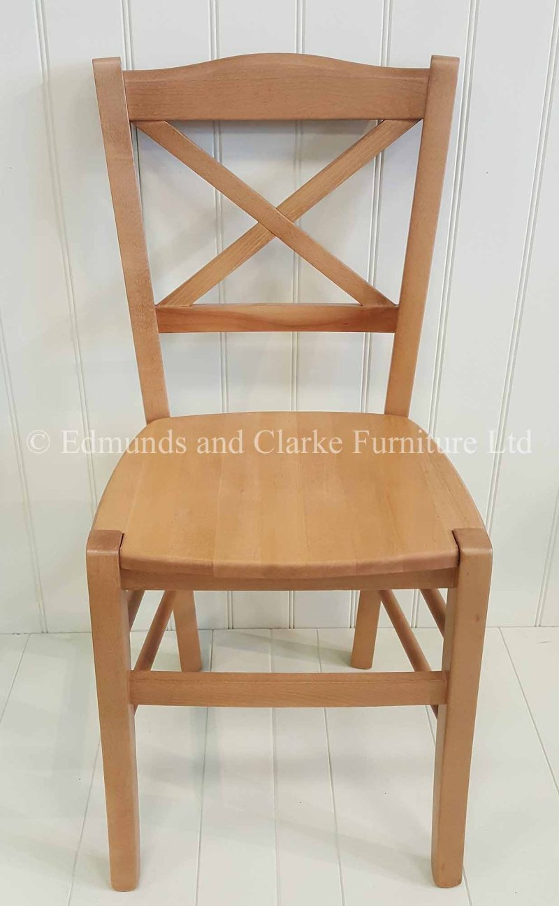 Cross back dining chair made from beech