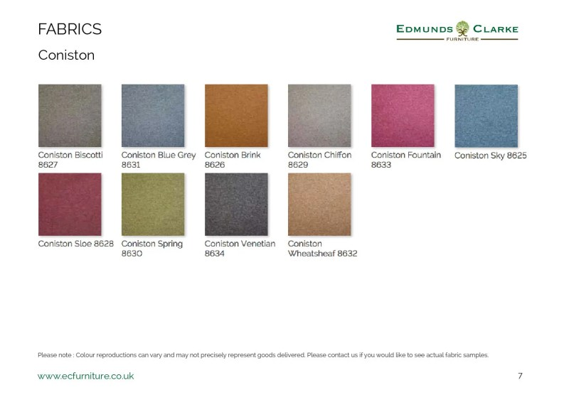 Coniston fabric swatches for our range of Edmunds dining chairs