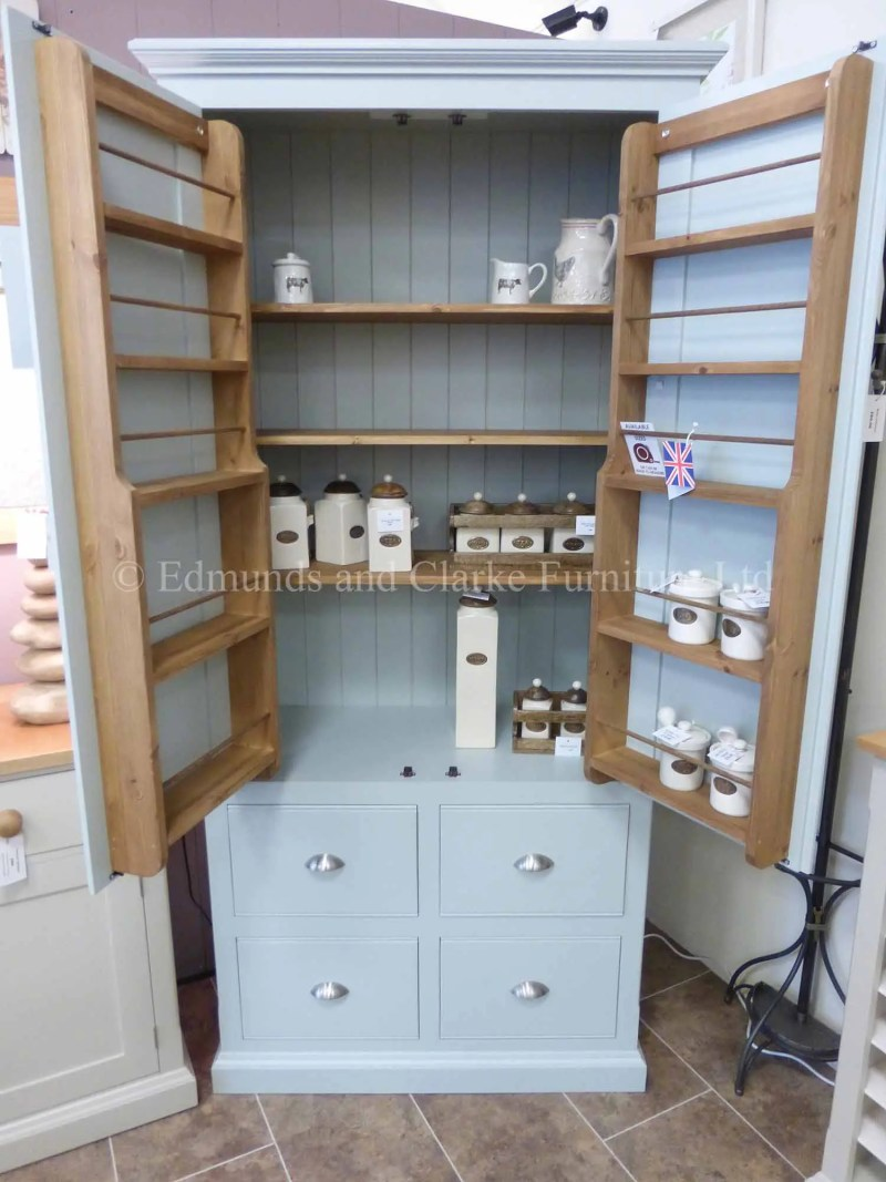 Pantry style larder cupboard 2 door and 4 pan size drawers