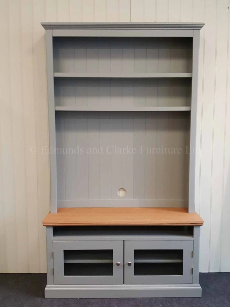 Edmunds Painted Tv Media Unit with shelves. perfect to elevate your flat screen tv
