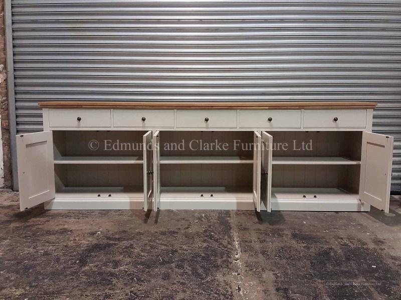 9ft wide painted sideboard solid oak top