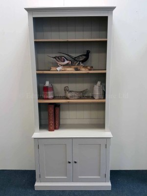 Edmunds Painted 2 Door Library Bookcase, pine shelves, two door cupboard underneath, moulded cornice and plinth