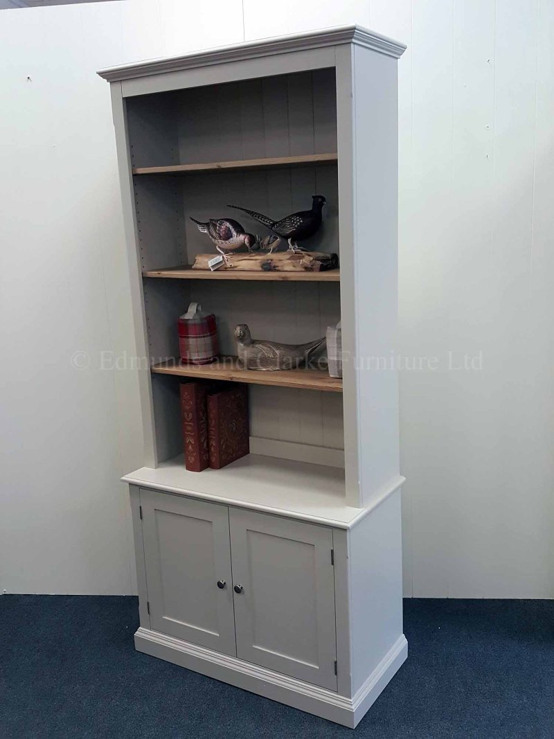 Edmunds two door library bookcase with three adjustable shelves above
