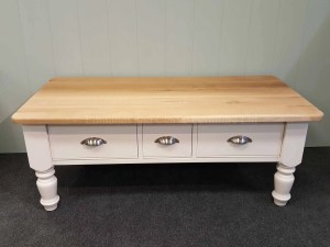 Edmunds Painted Coffee Table. painted in wells white with oak top upgrade. chrome cup handles