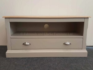 Edmunds Painted Standard Tv Stand. with drawer large drawer with open space for media